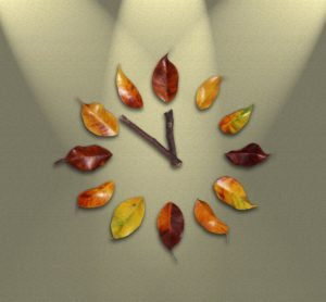 Watch face made of leaves for numbers and twigs for hands.