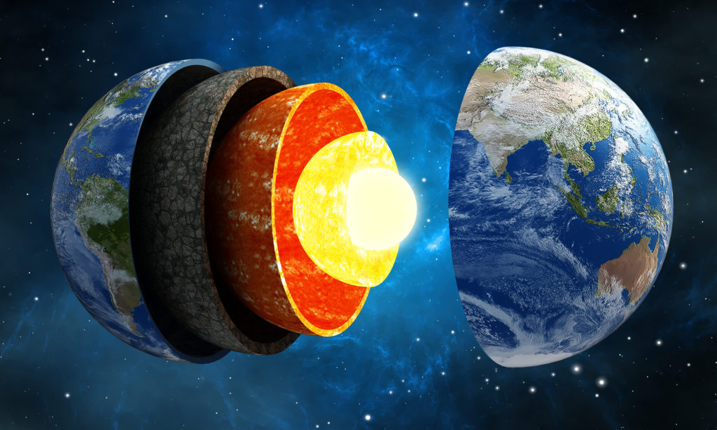 3D illustration showing layers of the Earth in space.