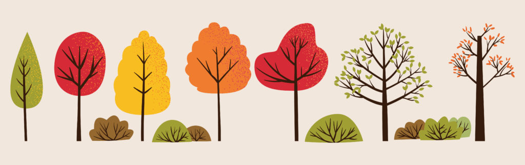 Artistic rendition of colorful fall trees