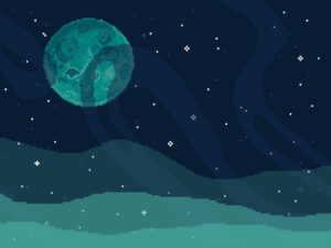 lonely but beautiful pixelated moon over earth