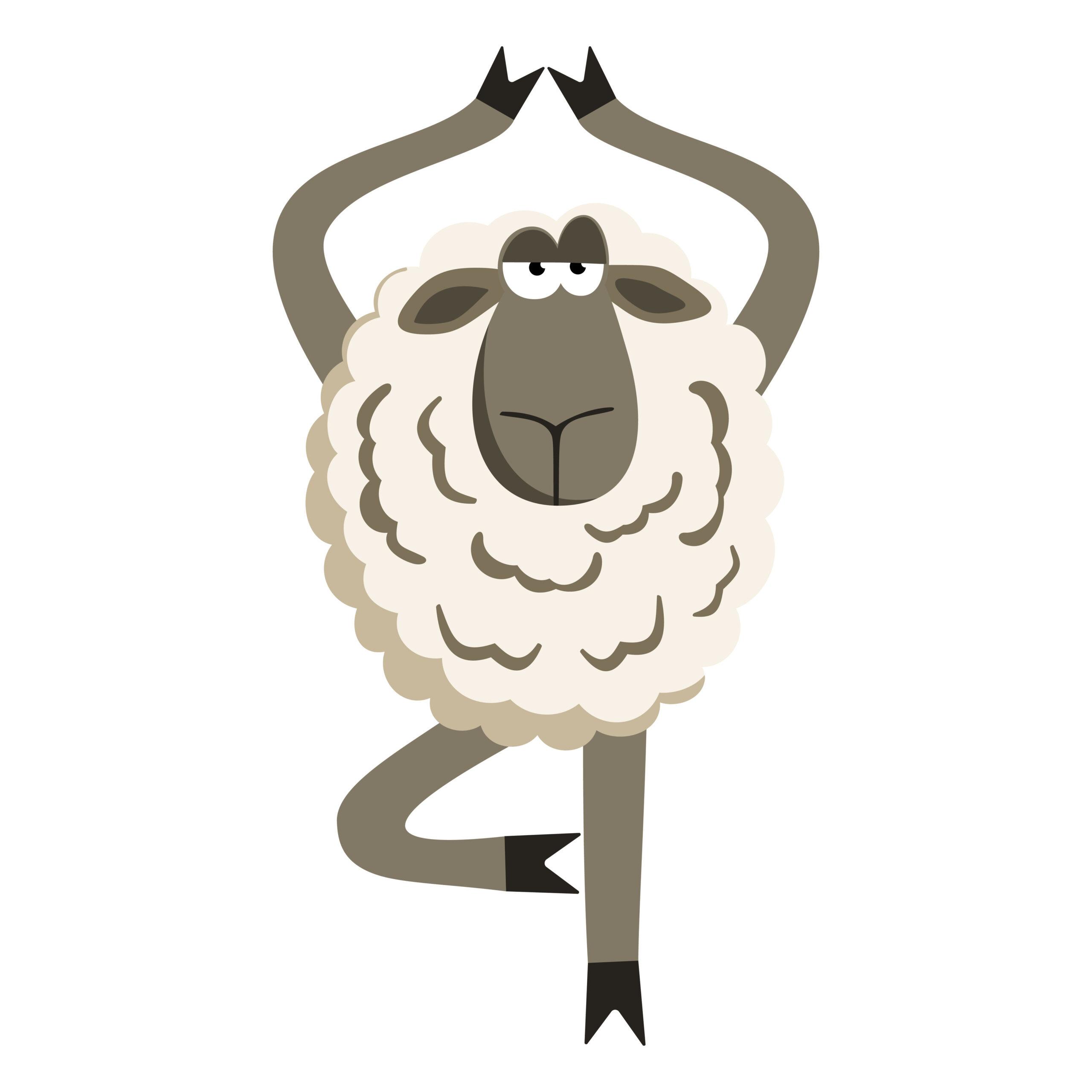 cartoon of lamb doing the tree pose.