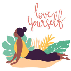 """drawn image of woman in color in a cobra pose. The captain says, """"love yourself"""""""